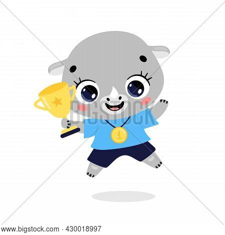 Cute Cartoon Flat Doodle Animals Sport Winners With Gold Medal And Cup. Rhino Sport Winner