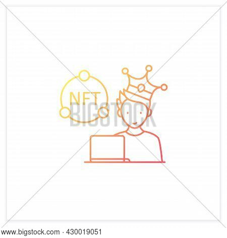 Nft Artist Gradient Icon. Content Creator. Crypto Artist. Creating More Nfts Works. Having Copyright