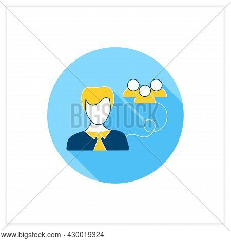 Public Relations Officer Flat Icon. Head Of Communications, Public Relations, Public Affairs. Commun