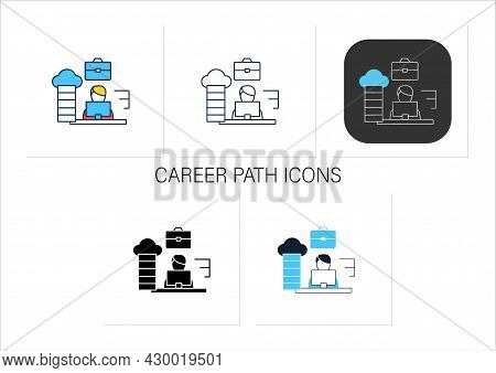 Career Path Icons Set. Workforce Development Strategy.self-improvement, Career Growth. Employee Work