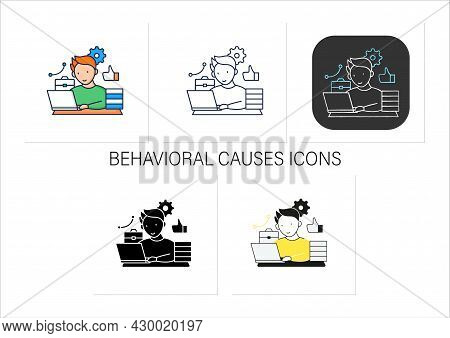 Workaholic Icons Set. Behavioral Causes. Man Works On Laptop. Hard Working. Satisfied From Work.over