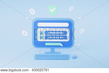 Account Login With A Password. The Concept Of Protecting Internet Security. Protection Of Personal D