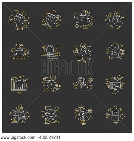 Digital Transformation Chalk Icons Set. Modern Technologies. Digitalization. Future. Digital Revolut
