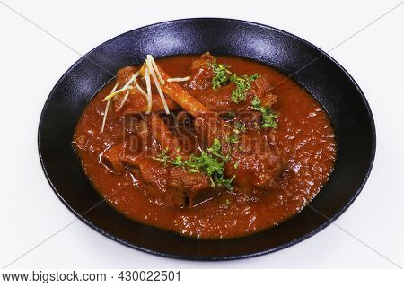 Indian Food, Slow Cooked Indian Lamb Or Mutton Shank Curry, Also Known As Nalli Rogan Josh