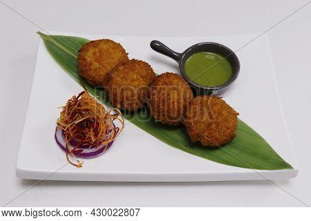Corn Tikki, Also Known Bhutte Ki Tikki, Deep Fried Corn Patties Rolled With Corn Flakes, Indian Snac