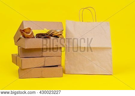 Dog Treats Made Of Dried Meat In Cardboard Box With Transparent Cover, Tied With Twine, Stands With