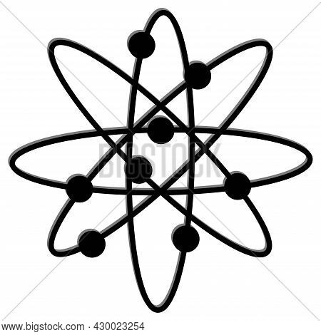 Molecular Atom Neutron Laboratory. Technology Round Logo. Vector Illustration. Stock Image.