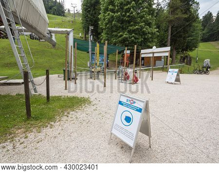 Bled, Slovenia - June 12, 2021: Entrance To A Touristic Attraction In Bled, For Leisure, Indicating