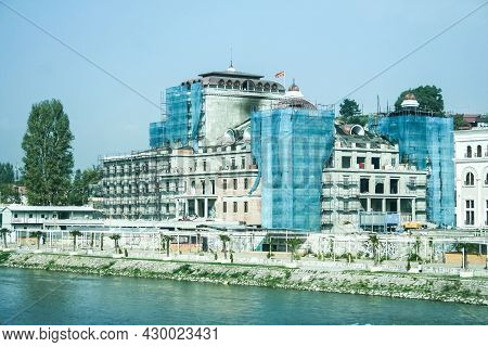 Skopje, Macedonia - October 25, 2011: Construction Site Of The Macedonian National Theater, Or Maked