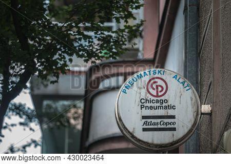 Belgrade, Serbia - June 2, 2021: Chicaco Pneumatic Logo In Front Of Their Retailer For Belgrade. Cp,