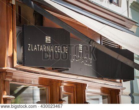 Ljubljana, Slovenia - June 17, 2021: Zlatarna Celje Logo In Front Of Their Main Boutique For Ljublja