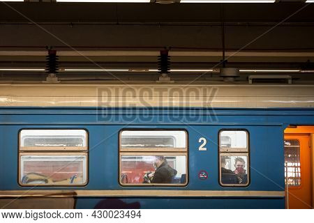 Belgrade, Serbia - April 11, 2021: Selective Blur On People At The Window Of A Suburban Train (beovo