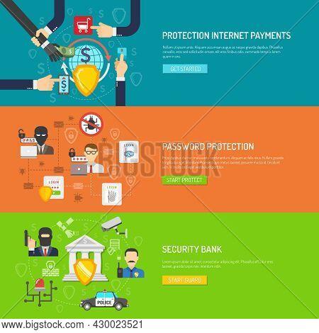 International Internet Banking Malware And Hackers Protection Safeguard System Flat  Horizontal Bann