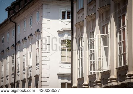 Typical Austro Hungarian Facades Of A Renovated Old Appartment Residential Building In A Street Of O