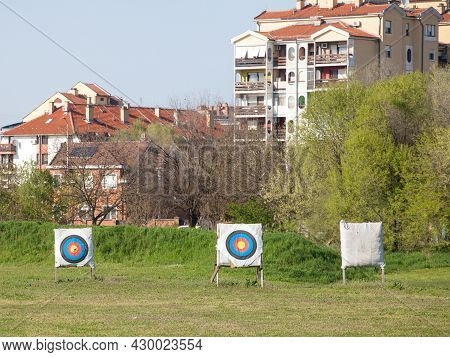 Archery Target, Also Called Bullseye Target, In An Archers Field, Used For Practicing Archery, Outdo