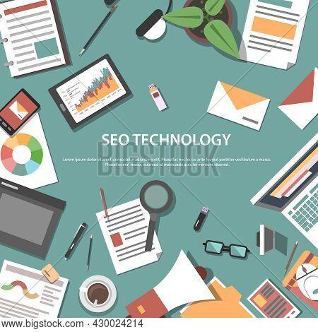 Search Engine Optimization Internet Technology Web Concept Pictograms Composition Webpage Poster Pri