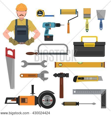 Tools Flat Icons Set With Toolbox Hammer Drill Isolated Vector Illustration