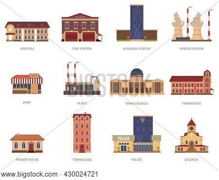 Vintage City Buildings Of Hospital Fire Station And Downtown Business Center Icons Set Abstract Isol