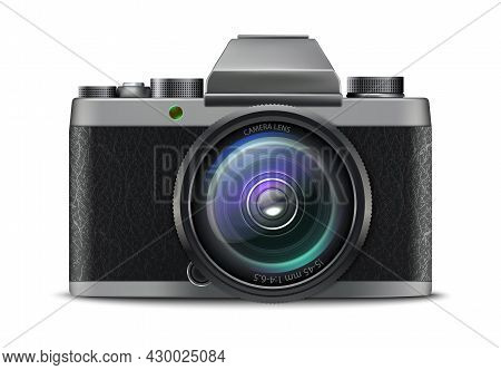 3d Realistic Vector Photo Camera Icon. Isolated On White Background.