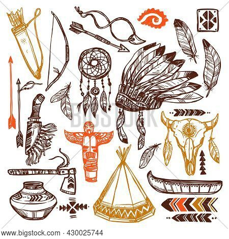 Native Americans Set With Hand Drawn Feathers Headband And Traditional Patterns Isolated Vector Illu