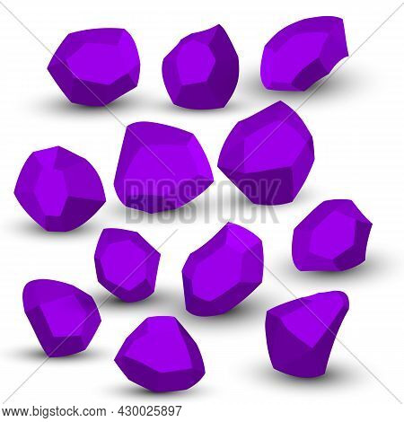 Cartoon Stones. Rock Stone Isometric Set. Purple Boulders, Natural Building Block Shapes, Wall Stone