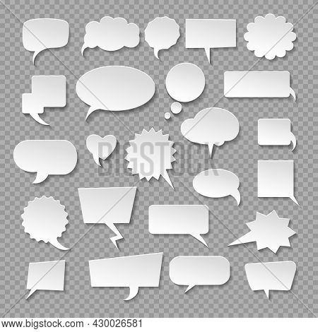 Emptiness Thought Bubbles. Vector Think Speech Balloons, Discussion Message Dialog Clouds, Thoughts