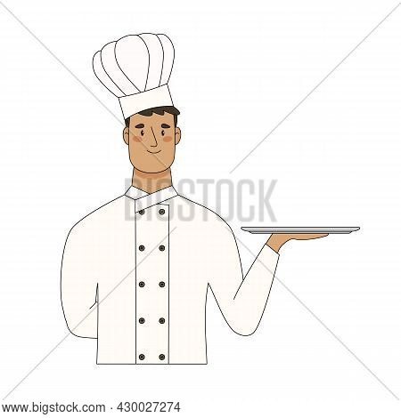 Chef Hold Empty Serving Tray For Food Isolated On White Background. Vector Flat Cartoon Illustration