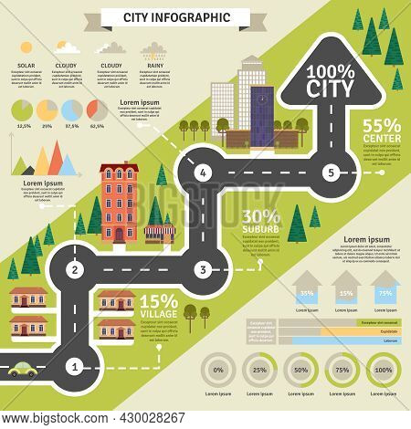 City Building And District Structure And Weather Or Other Statistic Infographic Flat Vector Illustra