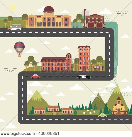 City And Suburb Long Street Poster With Town Council Edifice And Hospital Building Flat Abstract Vec