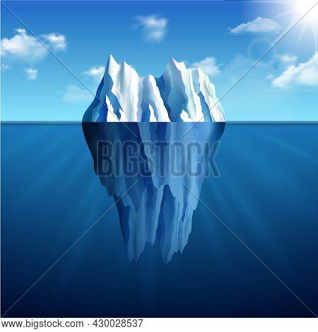 Polar Landscape With Iceberg On Blue Sunny Background Vector Illustration