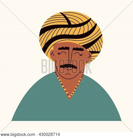 Portrait Of Elderly Indian Man With Turban. Avatar Of A Hindu Ethnic Father In Traditional Clothing.