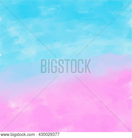 Abstract Vector Watercolor Paint Textured Paper Background. Pink Purple Blue Gradient Backdrop Desig