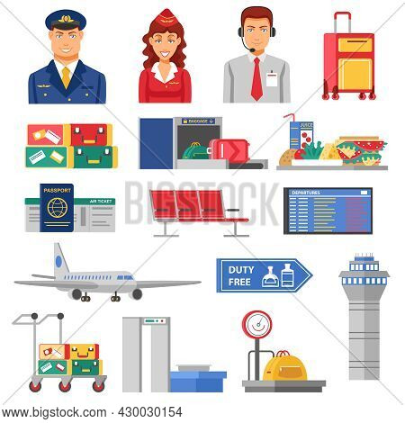 Airport Icon Set Flight Attendants And Pilots Figures Elements And Airport Buildings Airplanes And B