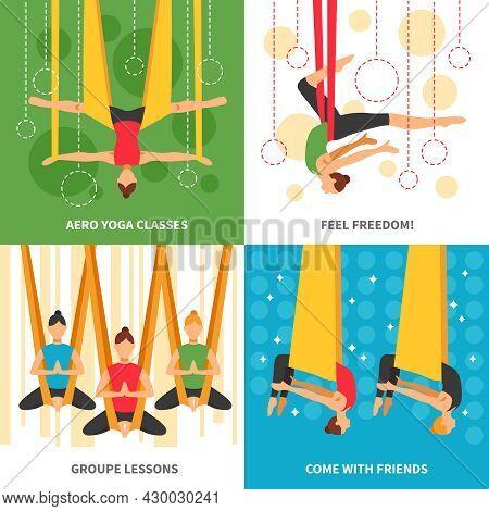 Aero Yoga Design Concept Four Square Icon Set With Themes Aero Yoga Classes Feel Freedom Group Lesso