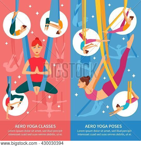 Two Vertical Aero Yoga Banner Or Bookmark Set With Women In Training And Titles Aero Yoga Classes An