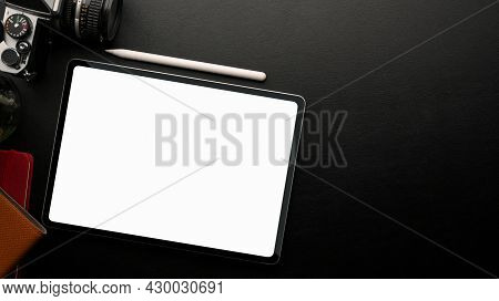 Tablet White Screen Mockup On Black Background With Camera, Decor And Copy Space