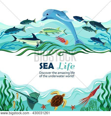 Cartoon Vector Illustration Of Sea Life With Exotic Underwater Inhabitants And Shoal Of Fishes In Ma
