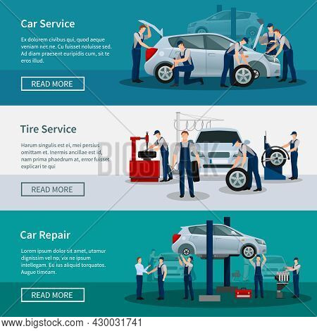 Flat Horizontal Banners With Scenes Presents Workers In Car Service Tire Service And Car Repair Vect