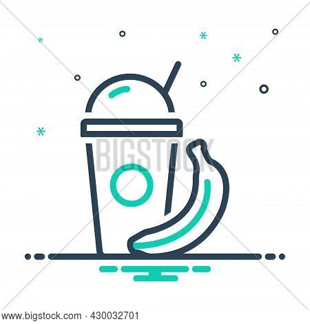 Mix Icon For Shake Healthy Banana Energy Vitamin Protein-shake Protein Glass Container Drink Editabl