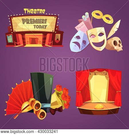 Theatre Stage Decorations And Props Retro Cartoon 2x2 Flat Icons Set Isolated Vector Illustration