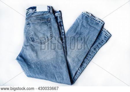 Blue Denim Jeans Texture. Denim Background Texture For Design. Canvas Denim Texture. Blue Denim That