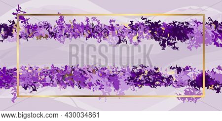 Abstract Purple Background Golden Metal Texture And Frame. Vector Purple Background For Interior Dec