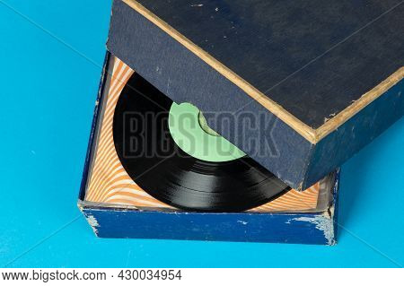 Old Box With Vinyl Records, Collection. Vintage Vinyl Records Singles.
