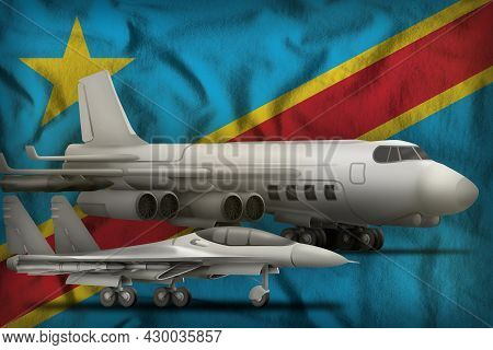 Air Forces On The Democratic Republic Of Congo Flag Background. Democratic Republic Of Congo Air For