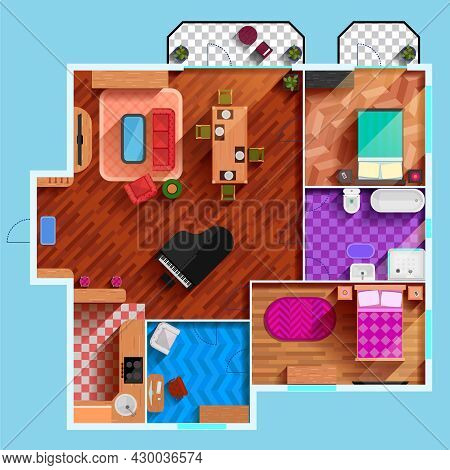 Top View Of The Interior Of Typical Apartment With Furniture Dining Room Bedrooms Kitchen Bathroom A