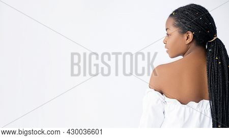 African Beauty. Cosmetology Banner. Dermatology Care. Spa Wellness. Profile Portrait Of Pretty Young