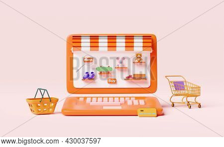 Orange Computer Monitor With Store Front,magnifying,teddy Bear,truck,skateboard,drone,cart,credit Ca