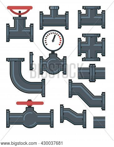Set. Fittings, Taps, Bends, Fittings And Pressure Gauge. Spare Parts For Pipelines, Sewerage, Gas Pi