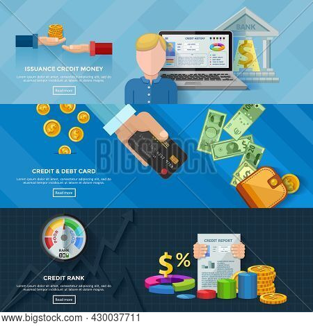 Credit Rating Horizontal Banners With Credit Scores Diagram Credit Report Issuance Credit Money Bank
