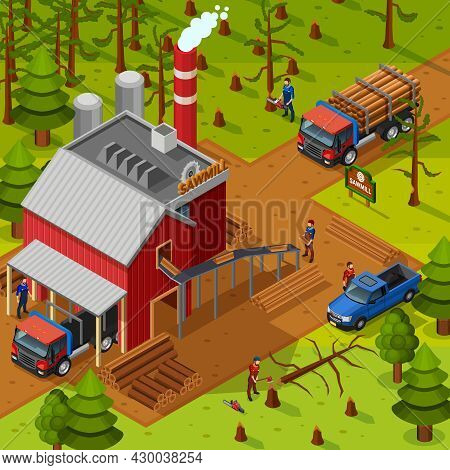 Lumberjack Isometric Composition With Sawmill Building Vehicles For Logs Transportation And Woodcutt